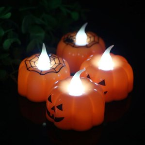 2019 New Creative Halloween Gift Light-emitting Electronic Pumpkin Candle Lantern Scene Decoration Props Mini Funny Night Light