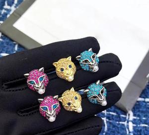 orecchini della CZ Il micro Leopard orecchini placcati oro 18k monili all'ingrosso di unico Micro Zirconia Panther testa Orecchini