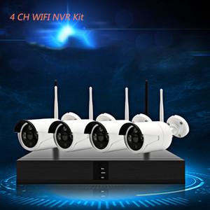 4CH 1080 P HD Kablosuz NVR Kiti P2P 720 P Kapalı Açık IR Gece Görüşlü Güvenlik 1.0MP IP CCTV Kamera WIFI CCTV Sistemi