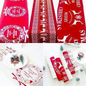 Blanc Imprimé flocon de neige de Noël Nappe Coton Elk rouge Cartoon Nappe de Table de Noël Décoration bureau des ménages XD22350