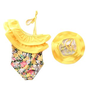 1~7Y Baby Girls Swimming suit Ruffle Style Children Swimwear Swimming suit for Kid Girls one piece Beach wear with Cap-SW442