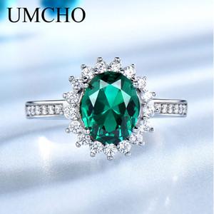 UMCHO Yeşil Zümrüt Gerçek 925 Gümüş Vintage Birthstone Yüzük İçin Kadınlar Gümüş Nişan Marka Güzel Takı düzenlendi