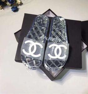 Los hombres de marca de PVC transparente plana de diapositivas de la sandalia del verano femenino de la playa sandalia de las mujeres del diseñador Carta de PVC suela informal Zapatilla