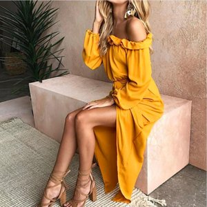 2019 New Style Robe longue Femmes Sexy Encolure Slash Neck Beach Femme Robes d'été solide jaune Looes Maxi Dress Vestidos Y190426