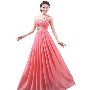 Purple Red Watermelon Lavender Sky Blue Chiffon One Shoulder Bridesmaid Dress 2020 Beading Crystal Party Dresses
