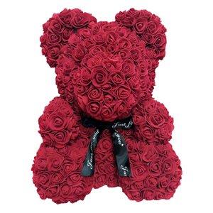 Big sale 40cm artificial flower rose teddy bear bubble eternal flower rose teddy bear valentine gift toy