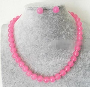 Venta al por mayor natural hecho a mano 10mm natural rosa esmeralda redonda de piedras preciosas con cuentas collar pendientes encanto moda