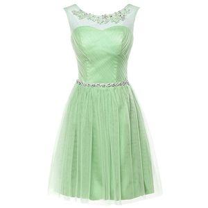 Charming Sheer Neck Mint Green Bridesmaid Dresses Lace Appliques Short Bridesmaid Dresses Beaded Waist Decoration Boho Maid of Honor Dresses