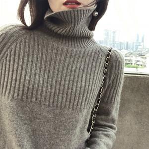 Moda-BELIARST 19 El otoño y el invierno de cuello alto de cachemira de las mujeres de Nueva jersey suelto Lazy suéter del viento de gran tamaño Era Delgada Y190929