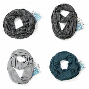 Pockets Zip invisível Scarf criativa homens de cor sólida Infinito Scarf criativa Mulheres de viagem de armazenamento écharpe TTA1678