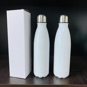 Горячая продажа белой пустая сублимации 17oz колы бутылка бутылки воды с крышкой из нержавеющей стали двойной DIY стены