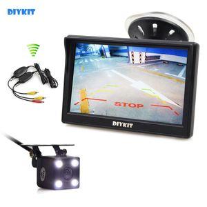 DIYKIT اللاسلكية للماء HD كاميرا احتياطية عكس سيارة LED للرؤية الليلية + 5 بوصة وشاشة LCD عرض الخلفية مراقب سيارة مراقب