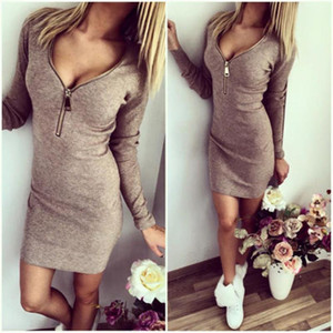 2019 Women Sexy Club Dress In Spring Plus Size Dresses Long Sleeve V Neck Zippers Cotton Solid Pink Gray Pencil Apparel For Ladies wholesale