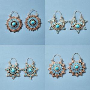 Vintage Alloy Dangle Earrings for Women Girl Fashion Sun Flower Geometric Blue Earrings Ethnic Carved Hollow Jewelry Wholesale