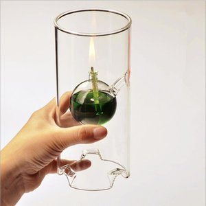 Height=18cm Small Size Glass Oil Lamp Home Decoration Height=18cm Cylinder Wedding Gift Love Glass Handcraft Lamp