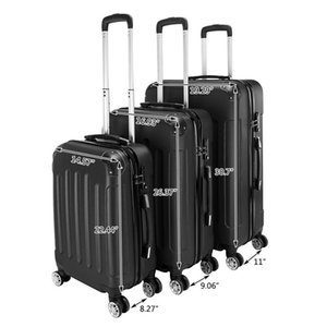 New 3 Piece Expandable Black Stylish Suitcases ABS Trolley Case Hardside Spinner Luggage Personalized trolley case Universa