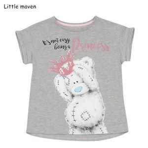 Pouco maven crianças roupas de bebê 2019 Verão meninas roupa tee de manga curta cobre a camisa marca Cotton impressão carta urso t 51339 Y200409