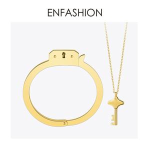 Enfashion Handschellen Manschette Armband Manchette Gold Farbe Edelstahl Armreif Für Frauen Armbänder Armreifen Bd172003 J190722