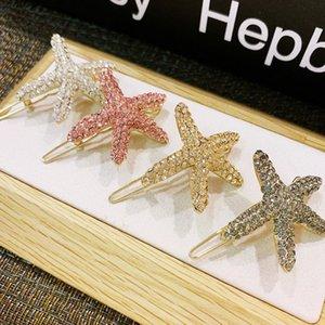 Bling Bling Rhinestone Starfish Hair Clip Mujeres Starfish Barrettes Moda Accesorios para el cabello Regalo para el amor Novia Alta calidad