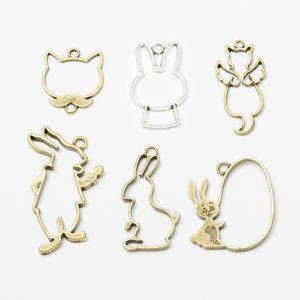 60pcs Antique bronze hollow CAT bunny charms metal alloy rabbit hollow pendants for bracelet earring necklace diy jewelry making