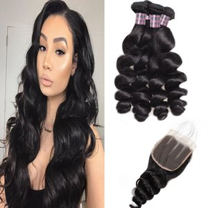 Curly Deep Wave Virgin Hair Bundles Weft Loose Wave 3 4pcs With Lace Closure Straight Water Wave Indian Human Hair Bundles With Closure