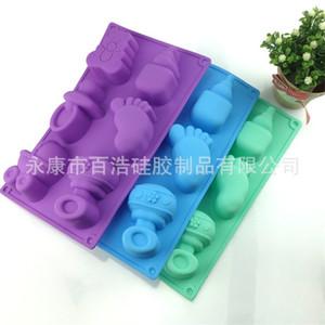 Moldes de biberones rectangulares de bricolaje Moldes de silicona para bebés Moldes de jabón hechos a mano Moldes para hornear galletas con varios colores 4 2bh J1