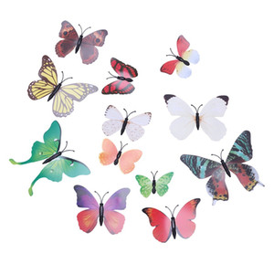 Gran cosa 12pcs Venta 3D Novel pared colorida mariposa Pegatina Decoración de decoración de interior caliente de pegatinas multicolor