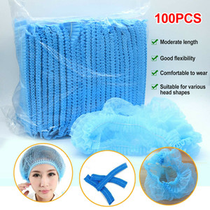 Free Shipping! 100pcs Disposable Hair Net Bouffant Cap Non Woven Stretch Dust Cap Head Cover