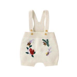Baby Rompers Sleeveless Newborn Spring Autumn Clothes 0-18M Vintage Floral Infant Knitted Jumpsuit Outfit One Piece Kids Clothes