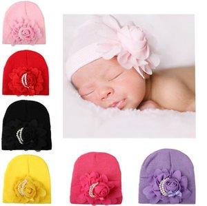 Новорожденная шляпа Шапочки Большого цветок младенцы шляпа Шапки для беременного Мягкой весны осени Хлопка жемчужных европейских оптовых 0-6months