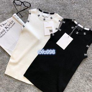 t-shirt de high-end mulheres meninas malha encabeça colete carta gola Jacquard mangas sensuais blusa camisas tanque tee 2020 camis moda pullover