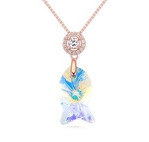 Hecho en China, joyería de moda, mujer, originalidad, adornos, nueva plata 925 con Swarovski Elemental Crystal Necklace Mermaid Pendant