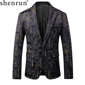Shenrun Herren Suite Herbst Classic Brand Blazer Herren Single Button Casual Print Slim Fit Business Anzug Jacke Weinrot Khaki navy