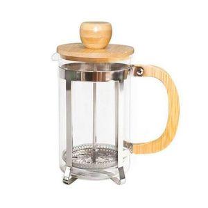 Pot café de aço inoxidável com tampa de bambu e Handle French Press portátil filtro de chá chaleiras de vidro