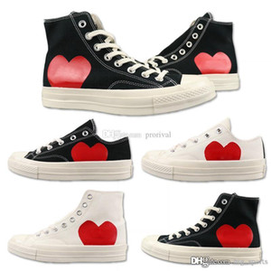 1970 Classique New Play All Stars Shoe Canvas CDG conjointement avec les yeux Big Coeurs Marque Blanc Noir Designer RUNNING Chaussures de sport de planche à roulettes
