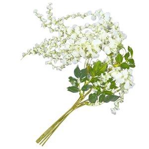 Artificial Silk Wisteria Vine Ratta Silk Hanging Flower Wedding Decor,6 Pieces,(White)