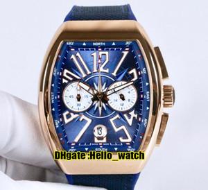 Coleção dos homens New Vanguard V 45 CC DT YACHT Blue Dial Miyota Quartz Chronograph Mens Watch Rose Gold Case Cronômetro Blue Rubber Watches