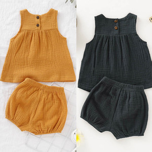 Baby Girl Short Set Linen Cotton Solid Color Kids Casual Suit Summer Girls Sleeveless Top Pumpkin Shorts Two-Piece Set