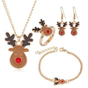4PCS / Set Weihnachtsdekorationen für Haus Weihnachtsmann Schmuck Weihnachten Frohe Weihnachten Ohrring-Geschenk-Verzierung Frohes Neues Jahr