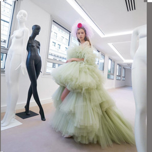 2020 New Fashion Light Green Tulle Girls Evening Dresses Tiered Ruffle Half Sleeve Zipper Back Prom Gowns robe de soiree