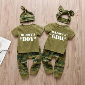 3Pcs Baby Boys Girls Family Letter Newborn Clothes Set Short Sleeve T-shirt Tops Casual Camouflage Pants Infant Toddler ClothinguA3m#