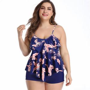 Frauen Plus Size swimewar Zweiteilige Swimdress Mädchen Frauen Bademode Zweiteilige Print Halter Badeanzug-Schwimmen-Kleid mit hoher Taille Bikinis Bade