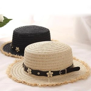 lovely Flat top straw hat Summer Spring women's trip caps leisure pearl beach sun hats black breathable fashion flower girl hats
