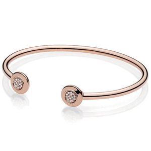 NEW 2018 NEW 100% 925 Sterling Silver Classic Open Pandora Rose Gold Bangle Bracelet DIY Beaded Pendant Gift For Fashion Women