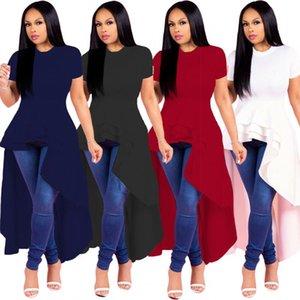 Asymmetric camiseta Moda Verão New Mulheres Praia Great Lengths Top Bandeau Top Vestido Moda para Mulheres