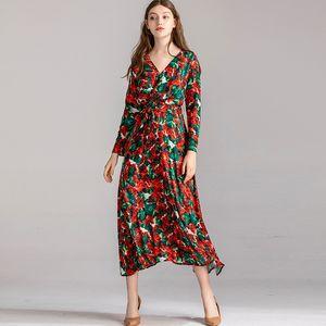 Abiti da passerella da donna Sexy scollo a V maniche lunghe increspato floreale stampato moda metà polpaccio abiti