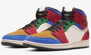 Blue The Great x 1 Mid Fearless Basketball Shoes Multi color splicing corduroy suede retro festival color matching traffic light cu2805-100
