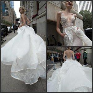 2019 Nuevo vestido de novia elegante con cuentas de Inbal Dror Apliques en V Escote Una línea Vestidos de novia sin espalda Hasta el suelo Tul Overskirts Wedding Dres