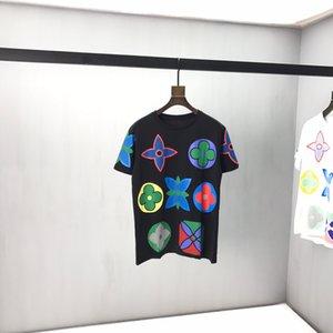 SS20 nuovo fiore di stampa Loose Fit manica corta T-shirt unisex Nero Bianco 261