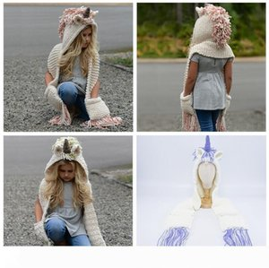AMUSE 2 in 1 unicorn scarf cap Kids Infant Llama Warm Knitted Hats Children cartoon warmer Winter crochet Hat 5pcs 3Colors AAA1013